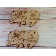 Laser Cut Rose Heart Be Mine